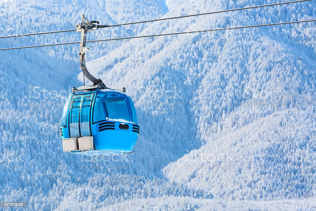 Bansko cable car cabin and snow peaks, Bulgaria stock photo