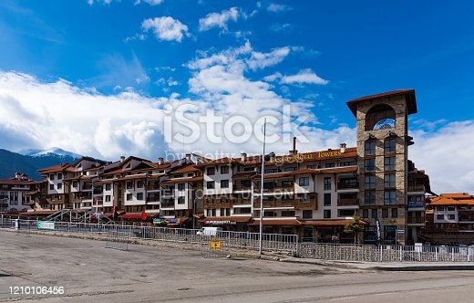 Bansko, Bulgaria-February 11 .2020. Old streets of Bansko in Bulgaria.Nice Sunny weather. Holidays people relax in the ski resort in the winter