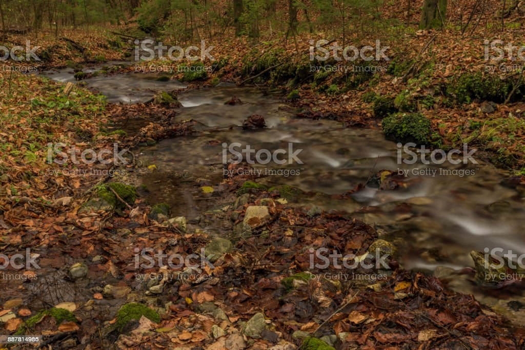 Bansky creek in autumn morning near Spania Dolina stock photo