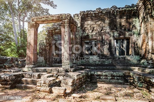Ancient Banteay Kdei Khmer Temple close to the famous Ta Prohm Temple at Angkor Wat Temple Complex in late afternoon light. Banteay Kdei, Angkor Wat, Siem Reap, Cambodia, Asia.