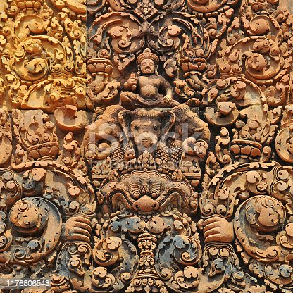A detail of the bas relief architecture in Banteay Srei temple with hindu God Indra on Elephant in the Angkor, Cambodia.