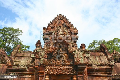 Banteay Srei or Banteay Srey (Khmer: ប្រាសាទបន្ទាយស្រី) is a 10th-century Cambodian temple dedicated to the Hindu god Shiva located in Siem Reap, Cambodia.