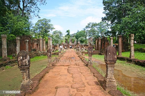 Siem Reap, Cambodia - July 14 2006: Banteay Srei or Banteay Srey (Khmer: ប្រាសាទបន្ទាយស្រី) is a 10th-century Cambodian temple dedicated to the Hindu god Shiva.