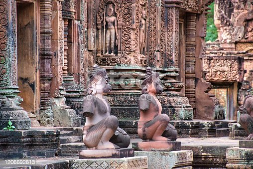 Banteay Srei or Banteay Srey Temple site among the ancient ruins of Angkor Wat Hindu temple complex in Siem Reap, Cambodia. The Temple is dedicated to the Hindu god Shiva