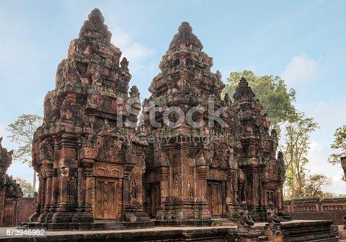 Ancient Cambodian temple Banteay Srei (Pink Templ)