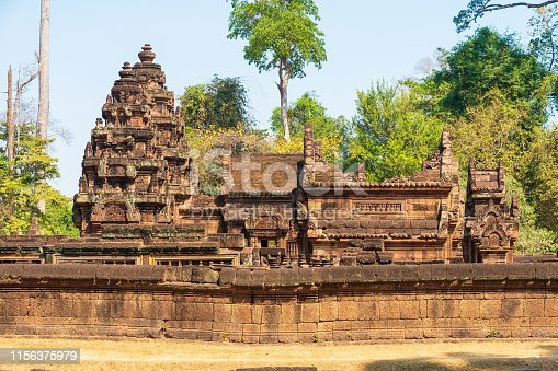 Banteay Srei ancient hindu temple close to Angkor Wat archaeological area in Cambodia