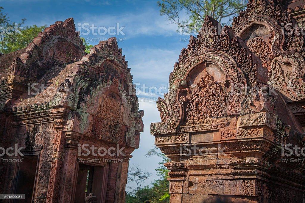 Banteay Srei temple in Cambodia. stock photo