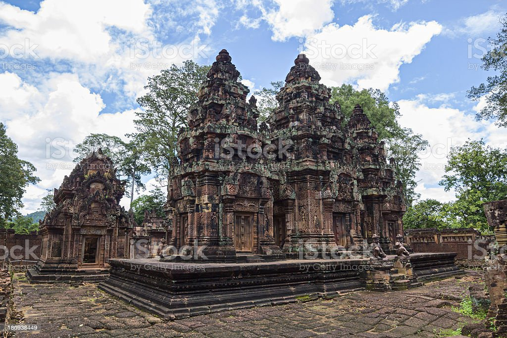 Banteay Srei Temple main structures royalty-free stock photo