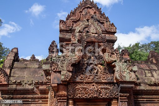 Ban Tai Srei Temple is locate at Angkor Complex, Siem Reap, Cambodia, Asia which Spectacular pediments adorn the buildings of the 10th Century and dedicated to the Hindu god Shiva.