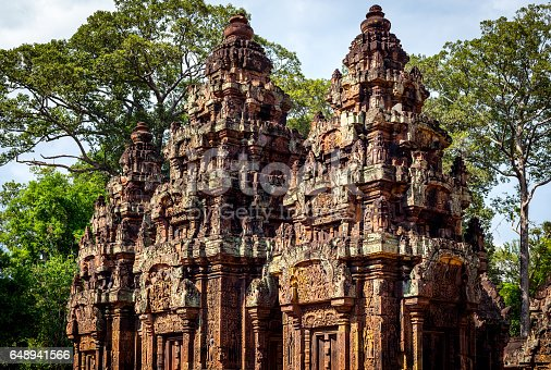Details of Banteay Srei temple (pink temple) in Siem Reap, Cambodia.