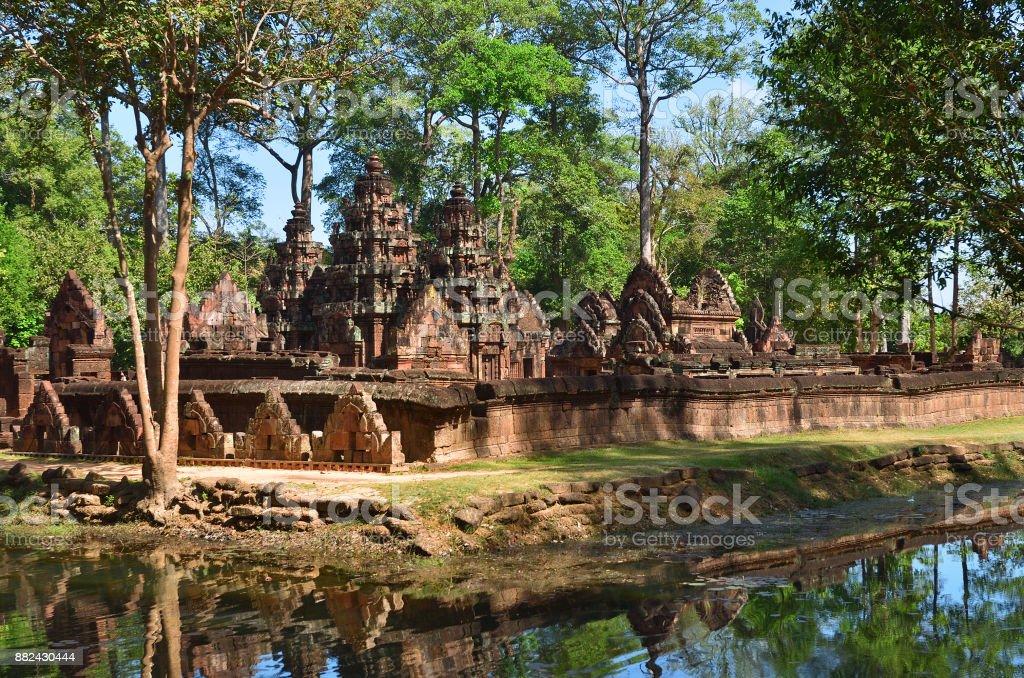 Banteay Srei temple Siem Reap complex Cambodia stock photo