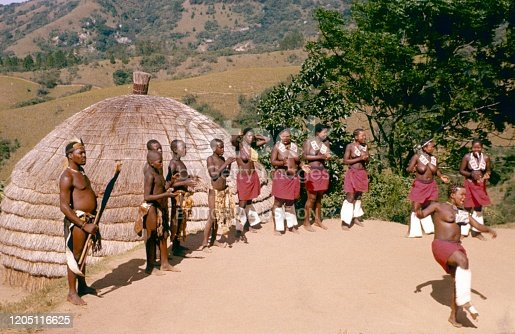 Natal, South Africa, 1975. Bantu villagers at a tribal dance for tourists in Natal.