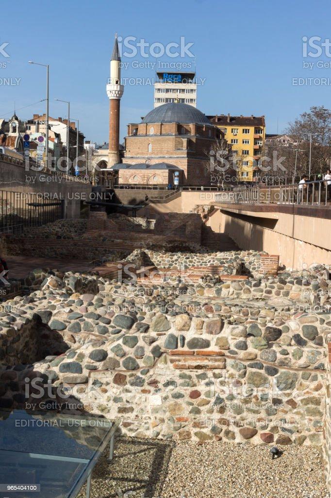 Banya Bashi Mosque and ruins of ancient Serdica in Sofia, Bulgaria royalty-free stock photo