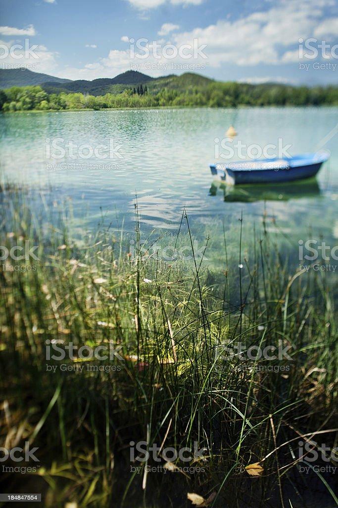 Banyoles lake and boat stock photo