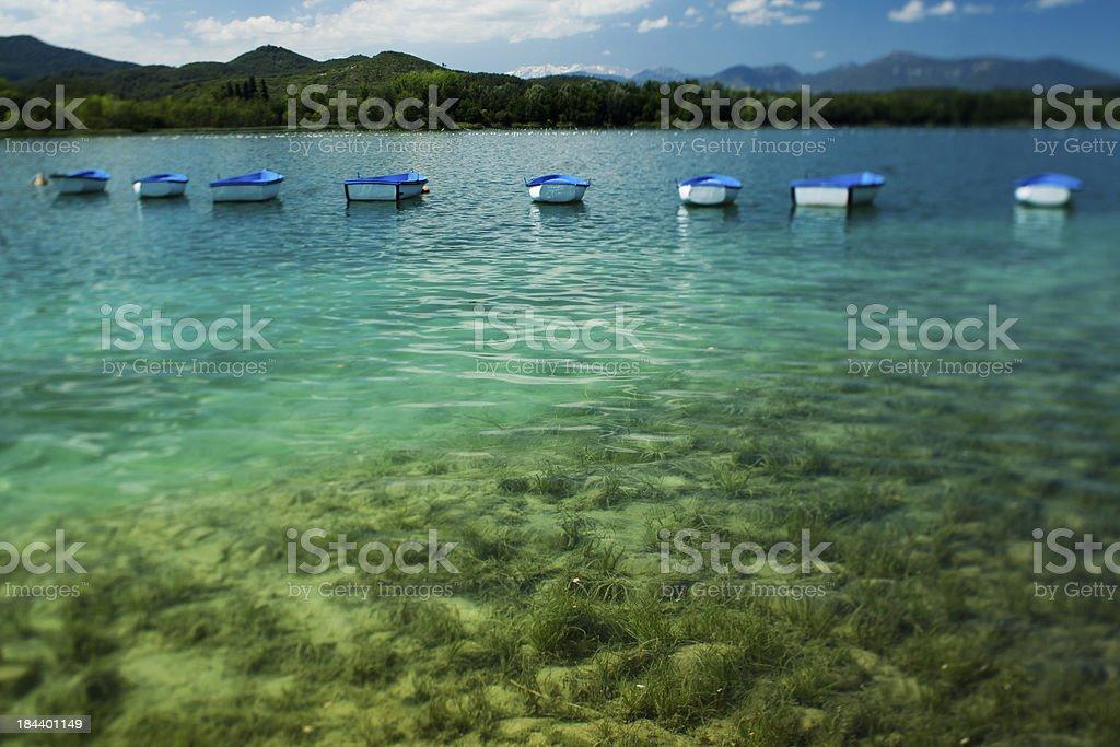 Banyoles lake and boats stock photo