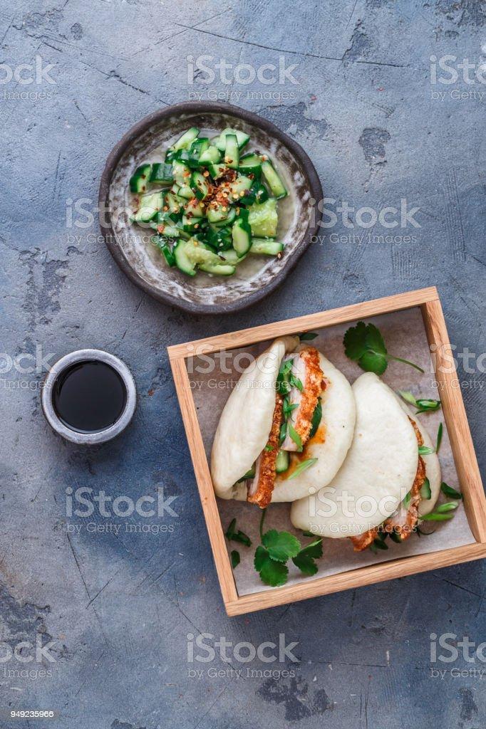Bao bun with pork belly, steamed sandwich, gua bao stock photo