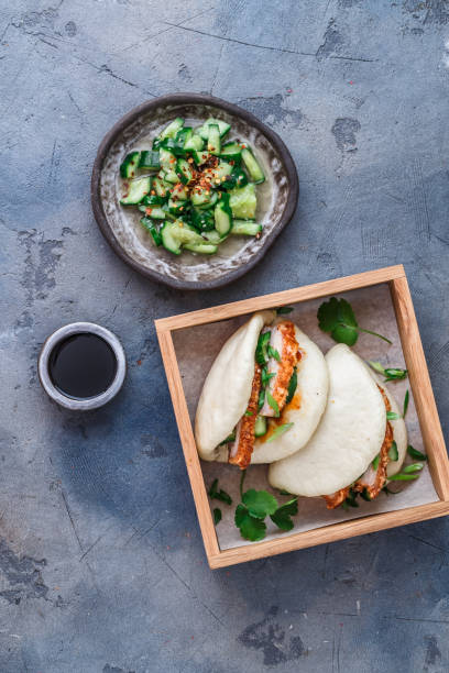 Bao bun with pork belly, steamed sandwich, gua bao stock photo