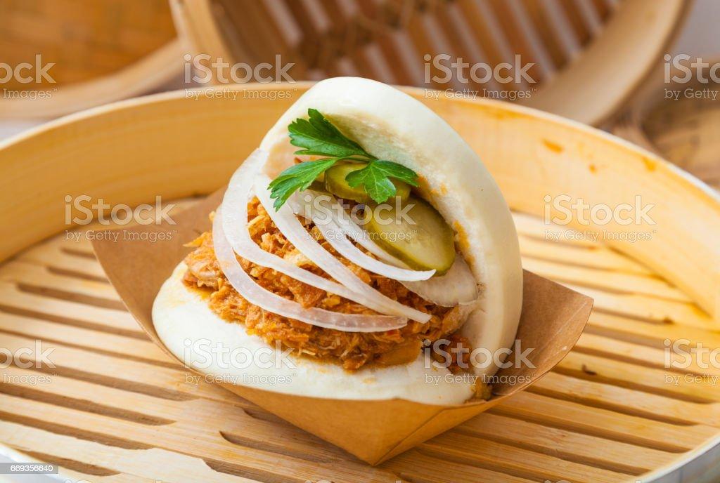 Bao sandwich, Asian street food stock photo
