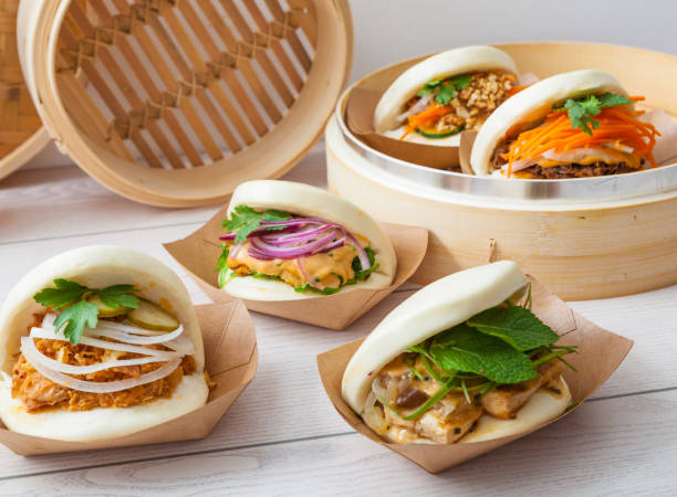 Bao sandwich, Asian street food stock photo