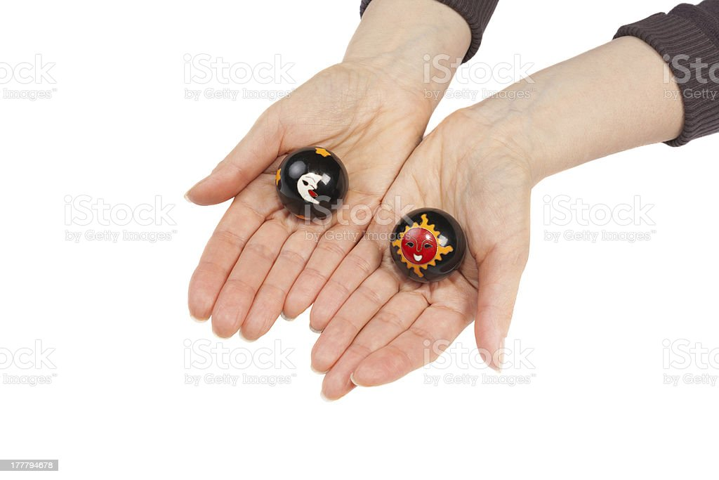 Baoding balls in a female hands royalty-free stock photo