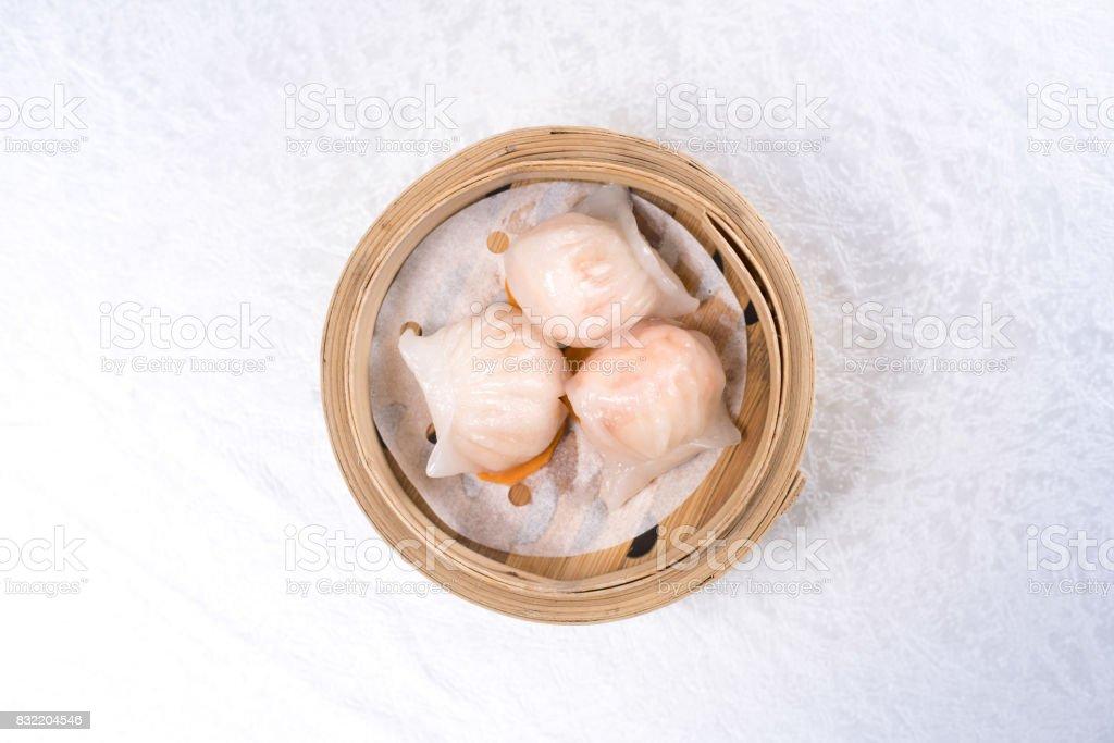 Baozi chinese dumplings on bamboo steamer stock photo