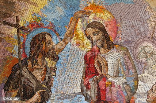 Medjugorje, Bosnia and Herzegovina, August 16 2016: Mosaic of the baptism of Jesus Christ by Saint John the Baptist as the first Luminous mystery