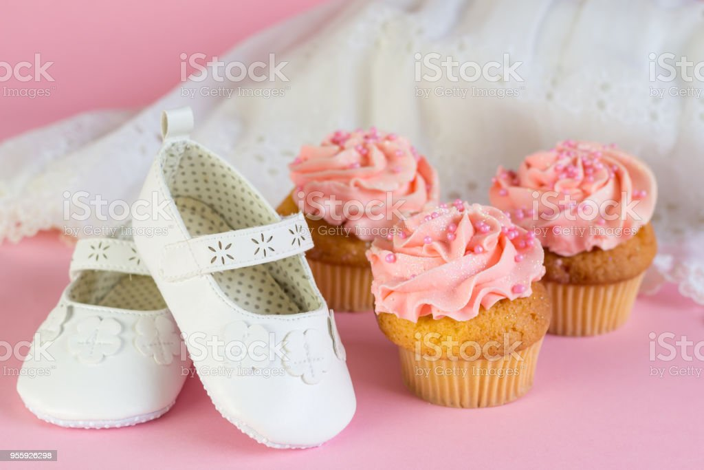 Baptism Or Birthday Girl Invitation With Pink Cup Cakes And