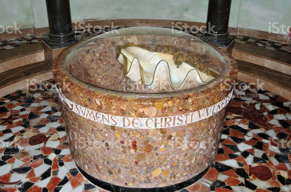 Baptismal font at Montserrat monastery, Catalonia, Spain stock photo