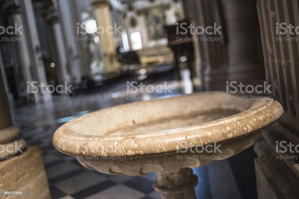 Baptismal font in Cattedrale metropolitana Santa Maria Assunta, Lecce stock photo
