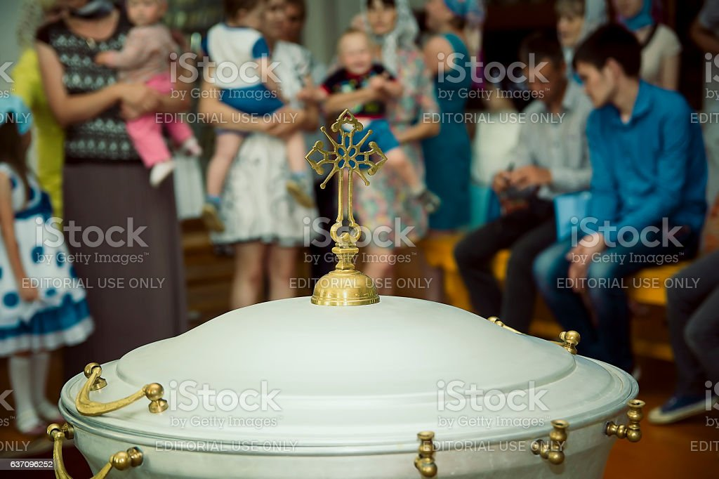Baptismal font in the church stock photo