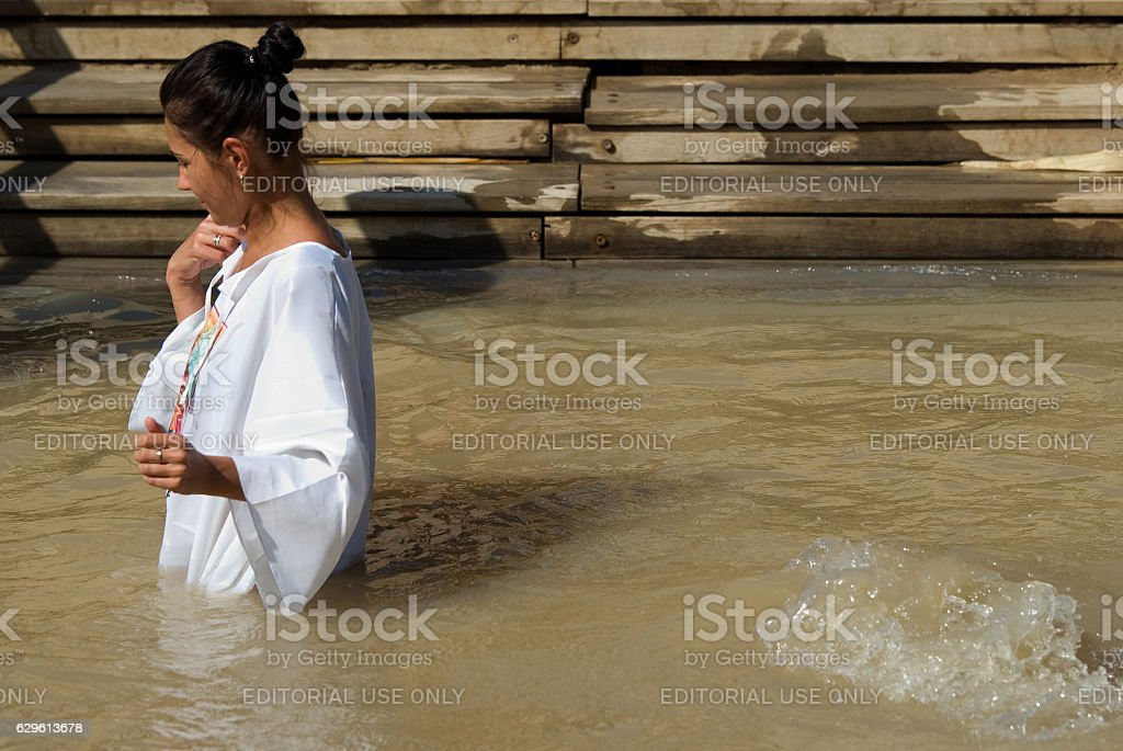Baptismal Site on the Jordan River, Qasr al-Yahud, Israel stock photo