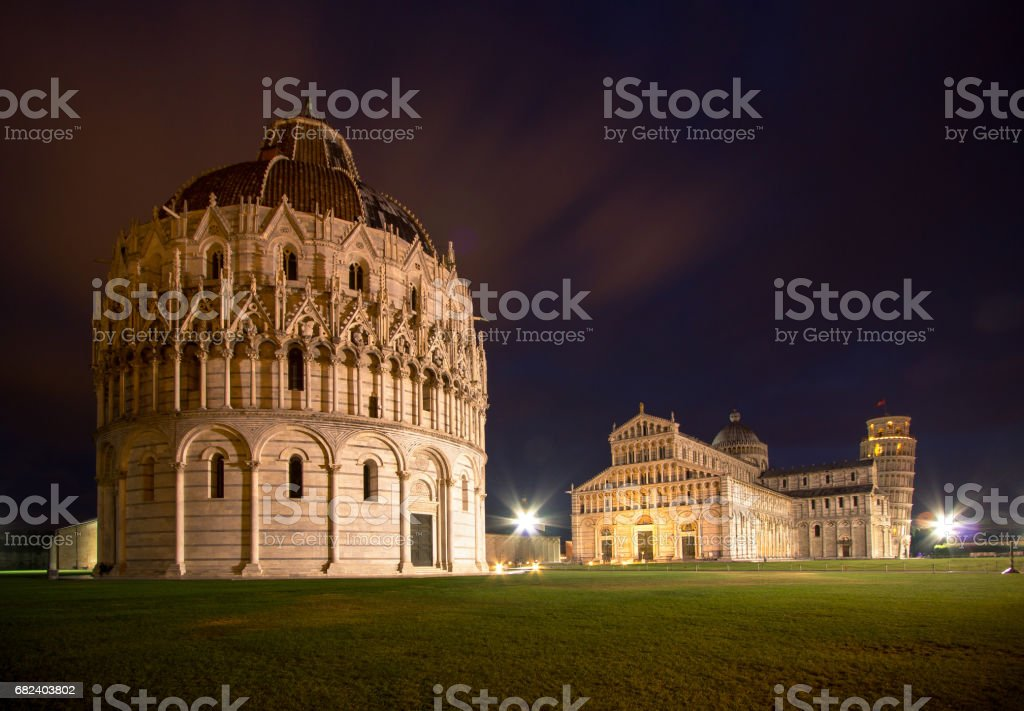 Baptistery, Cathedral of Pisa and Leaning Tower at night royalty-free stock photo