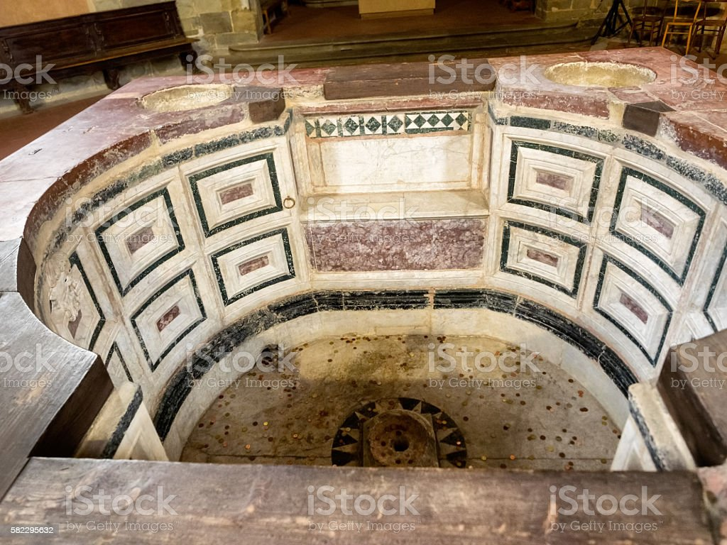 Baptistery in the center of Pistoia, Tuscany stock photo