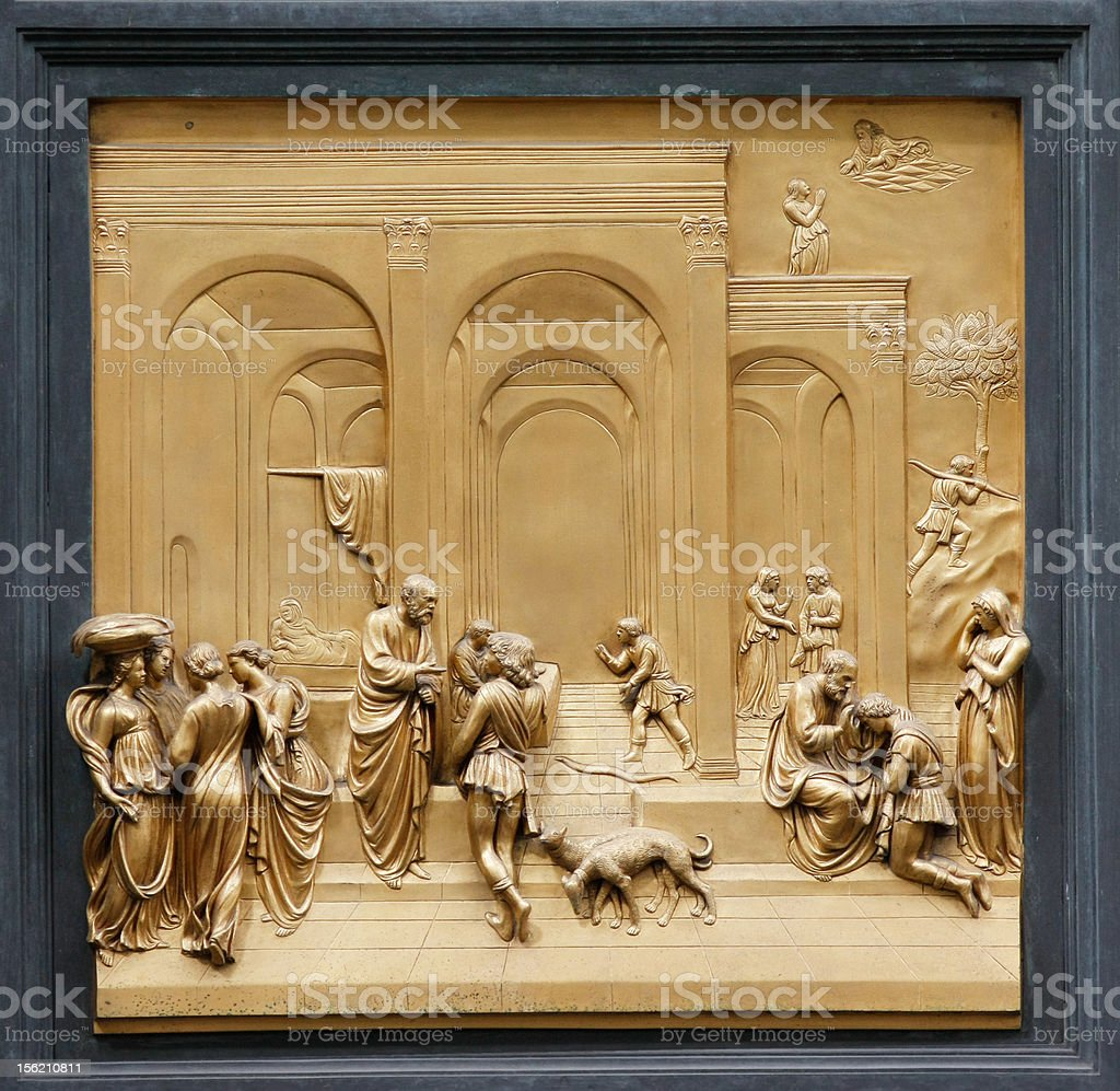 Baptistry Door Detail, Duomo, Florence, Italy royalty-free stock photo