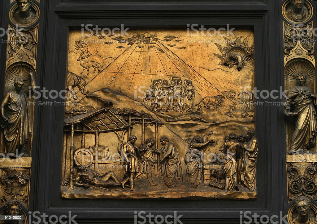 Baptistry Door Panel Florence Italy royalty-free stock photo