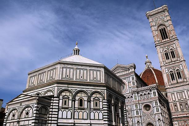 Baptistry San Giovanni, Santa Maria del Fiore, Campanile Giotto, Florence Florence in Italy, Cathedral Santa Maria del Fiore, Baptistry San Giovanni and Campanile di Giotto bell tower tower stock pictures, royalty-free photos & images
