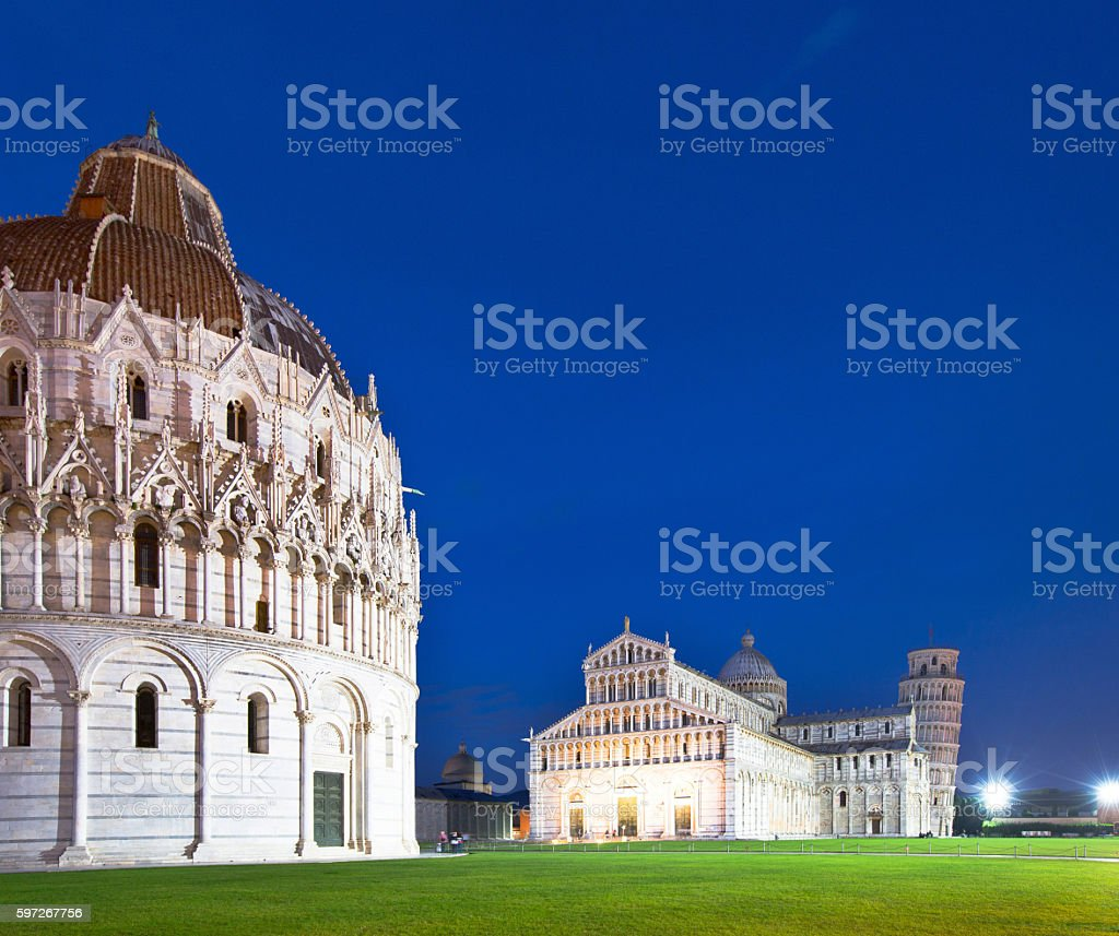Baptistry, the Duomo and Leaning Tower of Pisa at night royalty-free stock photo