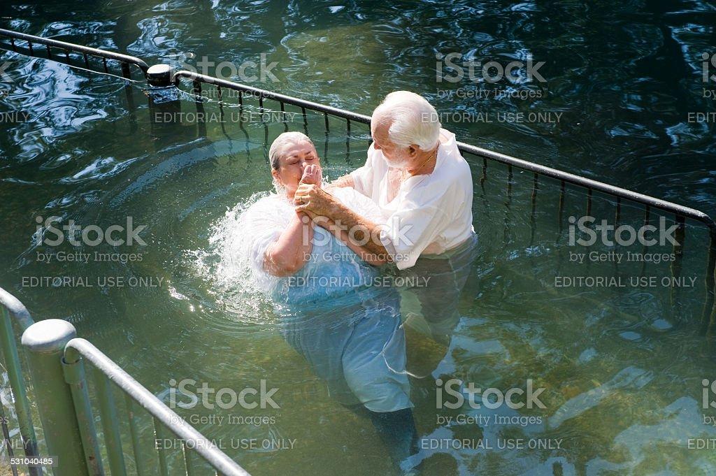 Baptized in Jordan river stock photo