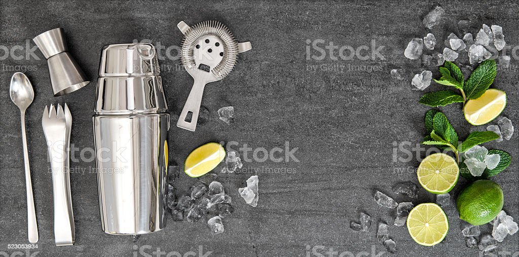 Bar accessories ingredients for alcohol cocktail drink stock photo