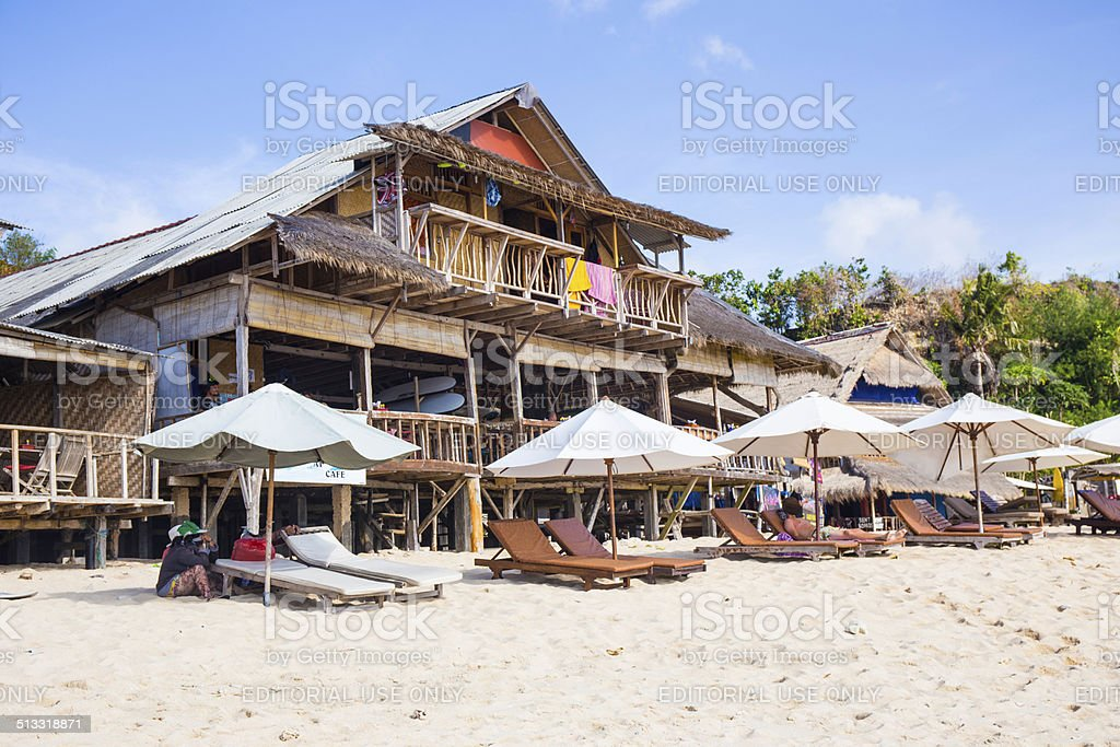 Bar and parasols in front of Indian Ocean, Bali stock photo