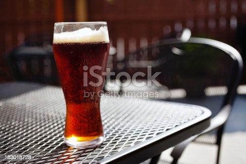 183064447 istock photo Bar Beer Glass on an Outside Pub Patio Table 183018728