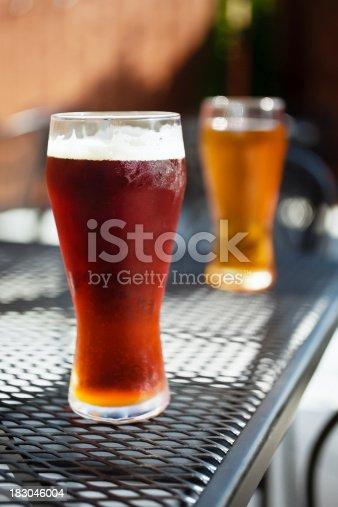 183064447 istock photo Bar Beer Glasses on a Pub Patio Table 183046004
