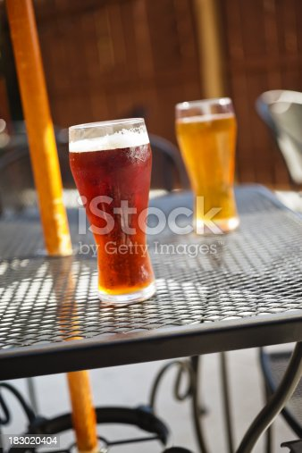 183064447 istock photo Bar Beer Glasses on an Outdoor Pub Patio Table 183020404