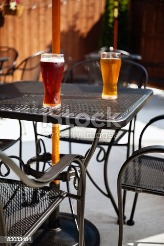 183064447 istock photo Bar Beer Glasses on an Outside Pub Patio Table 183033484