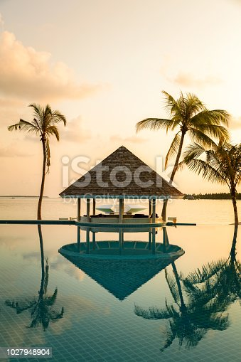 Bar Cafe and pool on a tropical beach, surrounded by palm trees in early morning  - travel background, vertical composition
