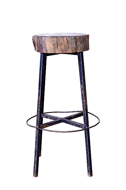 Bar chair. Wooden with steel legs simplistic bar chair, work with path. stool stock pictures, royalty-free photos & images