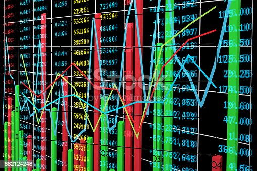 istock Bar chart and Line Diagram with Stock Exchange Market Data 862124248