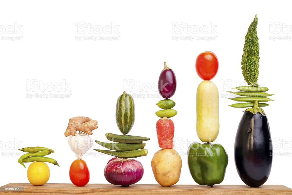 Bar Chart Graph made up of Assorted Vegetables stock photo