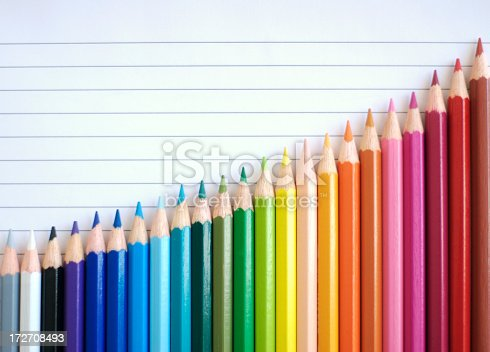 istock Bar Chart Graph Rainbow Colored Pencils Showing Result of Success 172708493