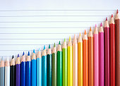 Bar chart graph rainbow of colored pencils slide up against a sheet of lined paper sloping in a good direction of success